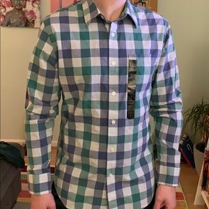 Banana Republic Green & Blue Checkered Shirt Small